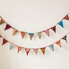 Colorful Kantha Quilt Bunting Flags