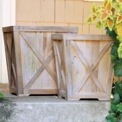 Reclaimed Wood Planters Set of 2