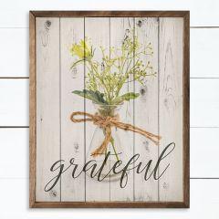 Grateful Flower Whitewash Framed Sign