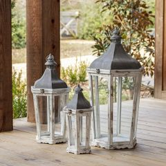 Weathered Wood Candle Lantern Collection Set of 3