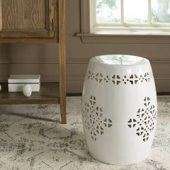 Quatrefoil Ceramic Garden Stool