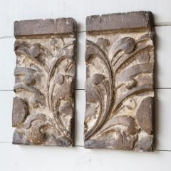 Architectural Carved Floral Wall Decor Set of 2