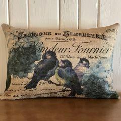 Bluebird Burlap Accent Pillow