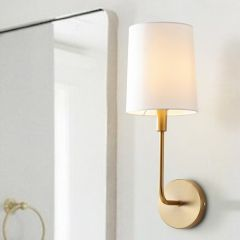 Metallic Finish Sconce With Cotton Shade