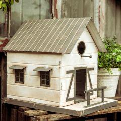 Decorative Farmhouse Birdhouse With Awning