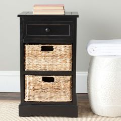 Side Table With Wicker Drawers