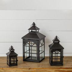 Rustic Arched Pane Lanterns Set of 3