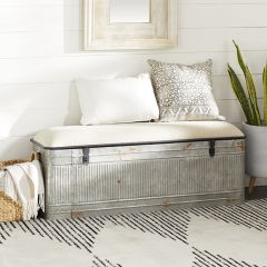 Metal Storage Bench With Fabric Top
