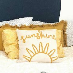 Embroidered Sunshine Throw Pillow