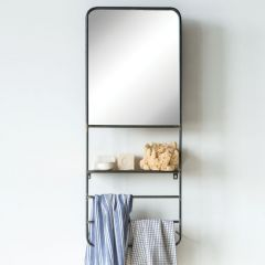 Metal Wall Mirror With Shelf And Rods