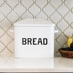 White Enameled Bread Box