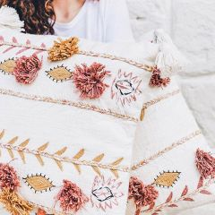 Cream Embroidered Accent Pillow With Tassels