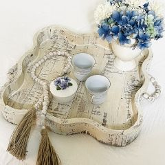 Scalloped Tray With Beaded Handles