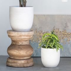 Matte Embossed Stoneware Planter One of Each