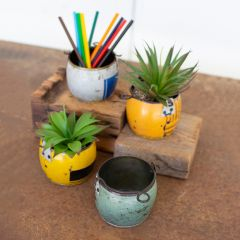 Recycled Metal Planter Pot Collection Set of 4