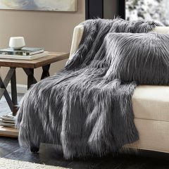 Luxurious Faux Fur Throw Blanket Grey