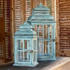 Aged Windowpane Candle Lanterns Set of 2
