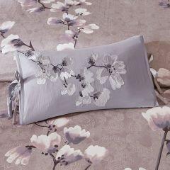 Embroidered Sakura Blossom Throw Pillow