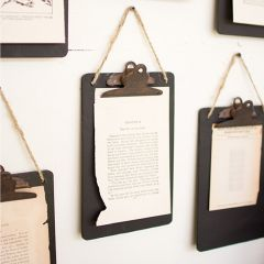 Hanging Black Metal Clip Boards Set of 6