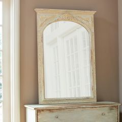 Arched Whitewashed Wall Mirror