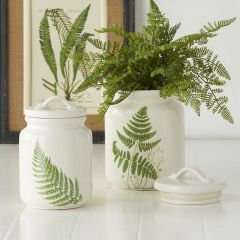 Fern Print Canisters Set of 2