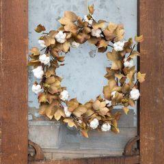 Harvest Season Cotton Wreath