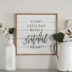 Wood Framed Grateful Heart Wall Decor