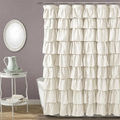 Country Chic Ruffled Shower Curtain Ivory