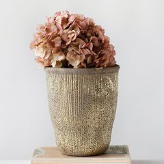 Gold Finished Grooved Terracotta Planter