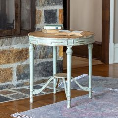 French Country Painted Round Accent Table