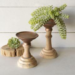 Duotone Wood Candle Holder Set of 2