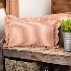Ruffled Farmhouse Ticking Stripe Accent Pillow