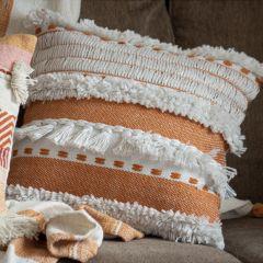 Hand Woven Boho Fringe Accent Pillow