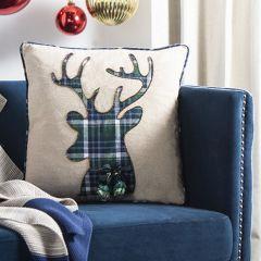 Plaid Reindeer Accent Pillow