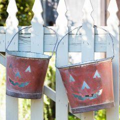 Painted Metal Jack O Lantern Pail Set of 2