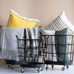 Rolling Metal Storage Baskets Set of 3