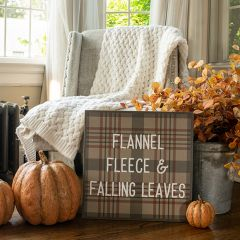 Plaid Flannel And Fleece Fall Sign