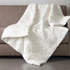 Textured Plush Throw Blanket Ivory