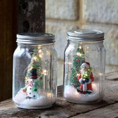 Lighted Holiday Canning Jar Set of 2