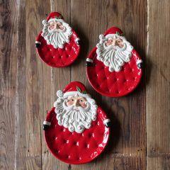 Whimsical Ceramic Santa Plate Set of 3