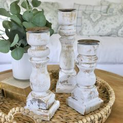 Distressed Wood Candle Holder Set of 3
