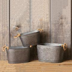 Rope Handled Oval Tin Tub Set of 3
