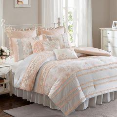 Ruffled Floral Print Comforter Set