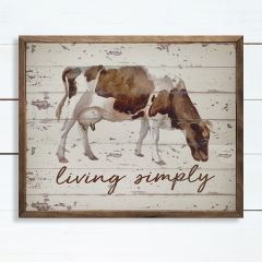 Live Simply Cow Framed Wall Art
