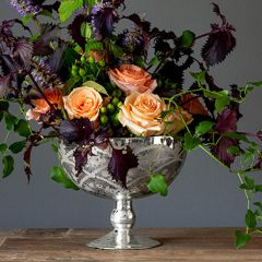 Etched Mercury Glass Compote