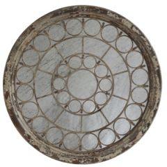 Ornate Antiqued Wood Framed Round Mirror