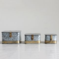 Galvanized Metal Boxes With Brass Accents Set of 3
