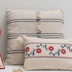 Mudcloth Style Pillow with Fringe Center