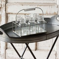 Small Milk Bottles And Metal Holder
