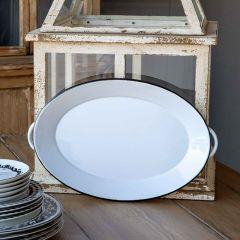 Black Rim Oval Enamelware Tray